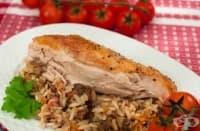 Пълнено пиле с дробчета и ориз (в ръкав)