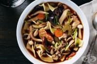 Супа с горски гъби и макарони