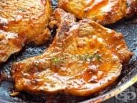 Свински пържоли с мед, соев сос и чесън