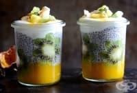 Тропически пудинг с манго, чиа и киви