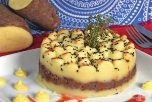 Солена торта от картофено пюре и кайма