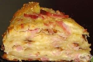 Солена кашкавалена торта-суфле с шунка