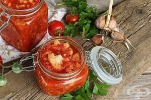Консервиран карфиол с домати и чесън