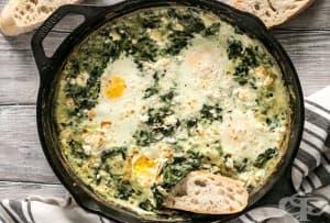 Млечна топеница със спанак, сирене и яйца