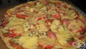 Бърза пица на тиган от течно тесто