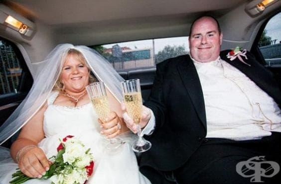 Затлъстяла двойка сваля общо 152 кг след шок от сватбените си снимки - изображение