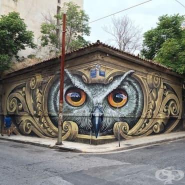 Художникът създава големи улични стенописи по сгради из цяла Европа - изображение