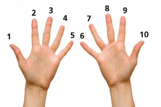 Математически трик с пръсти за лесно научаване на таблицата с 9  - изображение