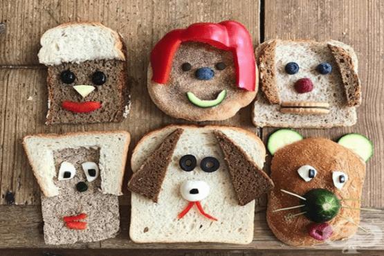 Забавни лица на герои от хляб и зърнени продукти  - изображение