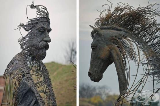 13 скулптури на исторически личности, създадени от желязо и медни жици - изображение
