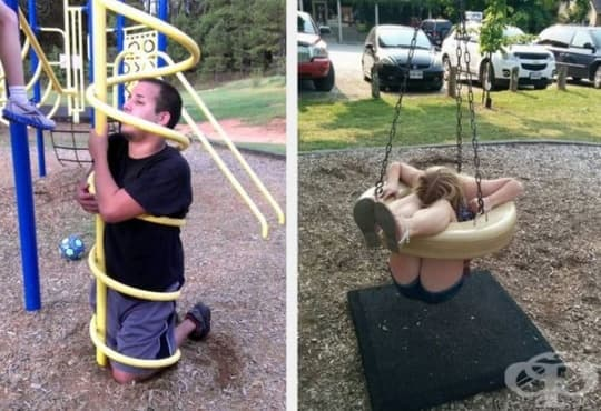 30 случая, в които възрастни са се заклещили в играчки на детски площадки - изображение