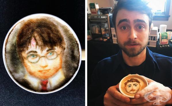 Барист рисува реалистични портрети на известни личности върху кафе - изображение