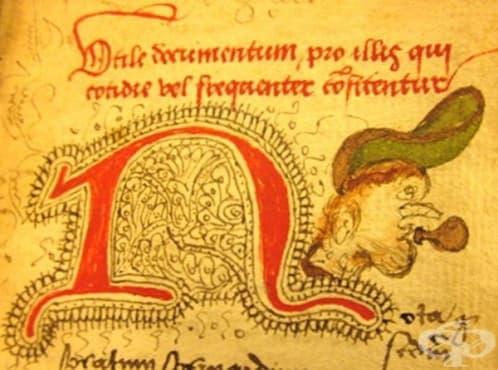 Средновековен ръкопис, разказващ за лечебните растения и третирането на чумата - изображение