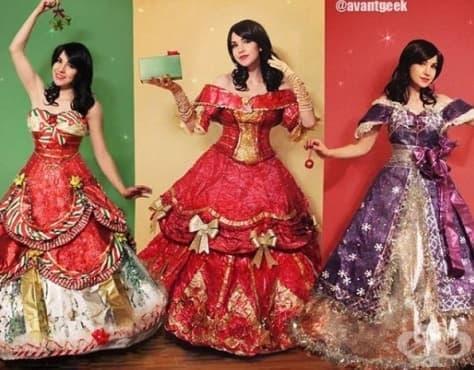 Дизайнер изобретява приказни рокли от остатъчна коледна хартия - изображение
