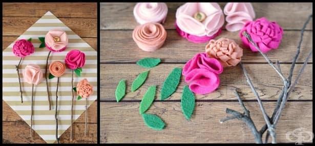 Как да си направим красиви цветя от филц, без шиене? - изображение