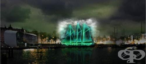 Летящият холандец се завръща! Вижте приказната призрачна инсталация на кораба в Амстердам (галерия) - изображение