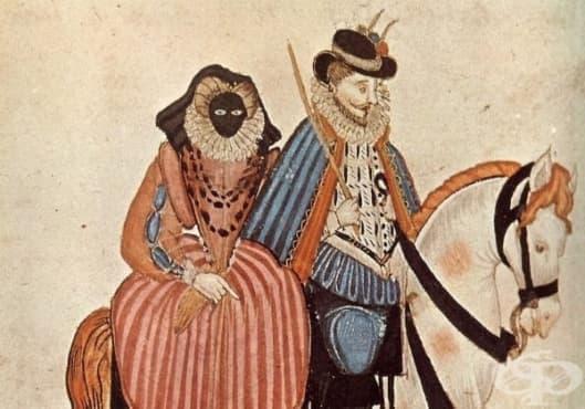 През XVI век дамите от аристокрацията носели маски, които им пречели да говорят - изображение