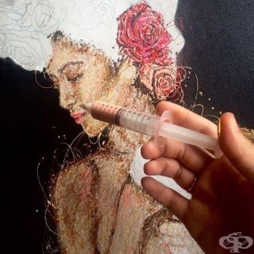 Впечатляващо: Медицинска сестра рисува картини със спринцовки и боя - изображение
