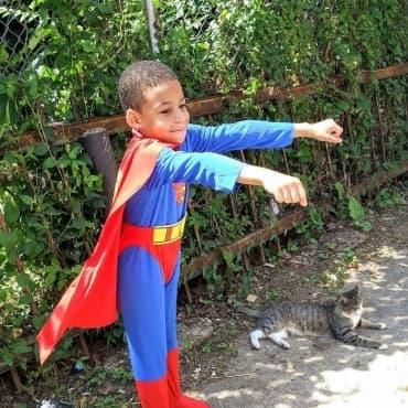 Добрият пример: Момче се облича като супергерой и спасява бездомни котки - изображение
