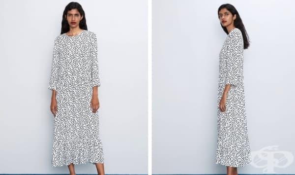 Дълга рокля с полка точки – моден тренд за дамите в ежедневието - изображение