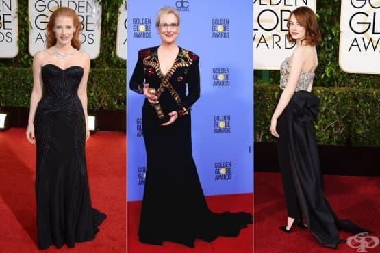 Тихият протест: Холивудските знаменитости с черни рокли по червения килим - изображение