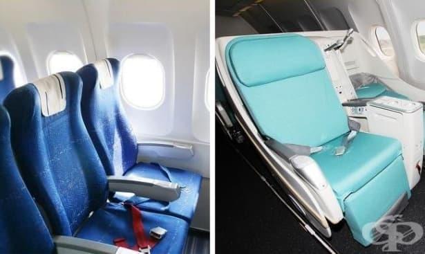 Защо седалките в самолета са сини - изображение