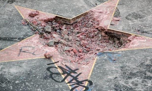 Разрушена е звездата на Доналд Тръмп в Холивуд - изображение