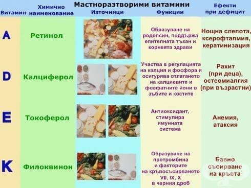 Физиологично значение на мастноразтворимите витамини - изображение