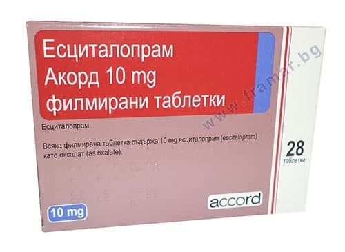 Изображение към продукта ЕСЦИТАЛОПРАМ таблетки 10 мг. * 28 ACCORD HEALTHCARE LTD