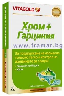 Изображение към продукта ХРОМ + ГАРЦИНИЯ таблетки * 30 ВИТАГОЛД