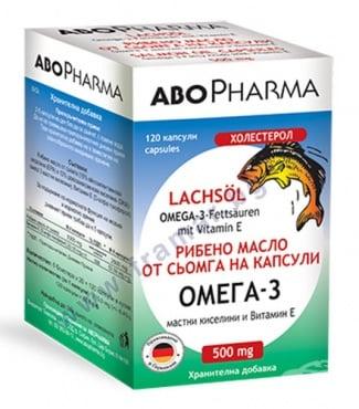 Изображение към продукта АБОФАРМА ОМЕГА 3 МАСЛО ОТ СЬОМГА капсули 500 мг * 120