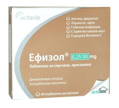 ЕФИЗОЛ таблетки за смучене 0.25 мг / 30 мг * 40 - изображение