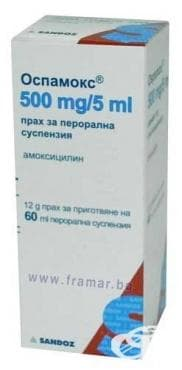 ОСПАМОКС суспенсия  500 мг. -  5 мл. 60 мл. - изображение