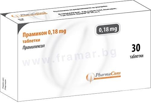 Изображение към продукта ПРАМИКОН таблетки 0.18 мг / 0.25 / * 30