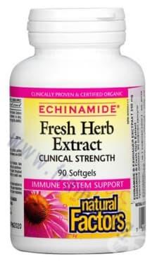 Изображение към продукта ЕХИНАМИД ЕХИНАЦЕЯ ЕКСТРАТ капсули 250 мг. * 90 НАТУРАЛ ФАКТОРС