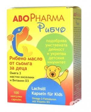 Изображение към продукта АБОФАРМА РИБЕНО МАСЛО ОТ СЬОМГА ЗА ДЕЦА (РИБЧО) капсули * 100