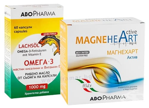 Изображение към продукта АБОФАРМА КОМПЛЕКТ МАГНЕХАРТ АКТИВ прах 7 гр. * 20 + ОМЕГА 3 капсули 1000 мг * 60