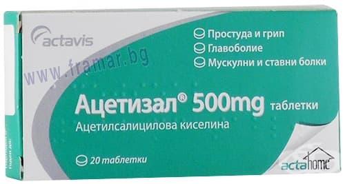 Изображение към продукта АЦЕТИЗАЛ таблетки 500 мг * 20 АКТАВИС
