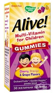 Изображение към продукта АЛАЙВ МУЛТИВИТАМИНИ ЗА ДЕЦА желирани таблетки * 30