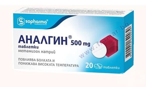 АНАЛГИН табл. 500 мг.  * 20 СОФАРМА