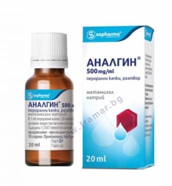 АНАЛГИН капки 500 мг. / мл. 20 мл.