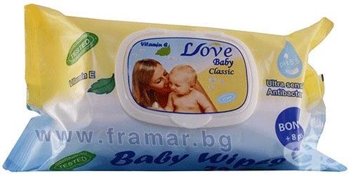 Изображение към продукта АНТИБАКТЕРИАЛНИ МОКРИ КЪРПИ LOVE BABY С КАПАК * 72