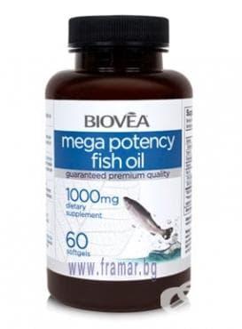 Изображение към продукта БИОВЕА МЕГА ПОТЕНСИ РИБЕНО МАСЛО капс. 1000 мг. * 60