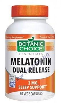 Изображение към продукта БОТАНИК ЧОЙС МЕЛАТОНИН С ДВОЙНО ОСВОБОЖДАВАНЕ капсули 3 мг * 60