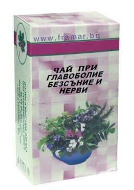 Изображение към продукта ЧАЙ ПРИ ГЛАВОБОЛИЕ, БЕЗСЪНИЕ И НЕРВИ 50 гр.