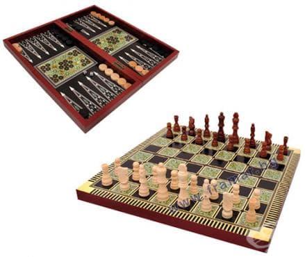 Изображение към продукта ИГРА 3 В 1 ШАХ + ТАБЛА + ДАМА ОРИЕНТАЛСКА 7753-Д