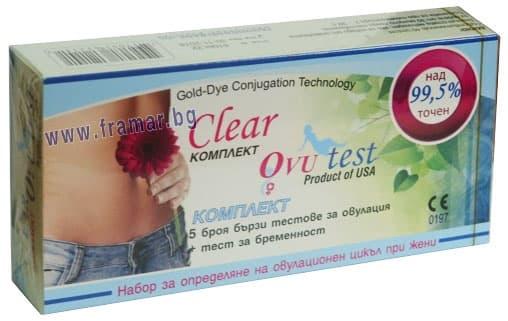Изображение към продукта ТЕСТ ЗА ОВУЛАЦИЯ CLEAR 5 бр. +  ТЕСТ ЗА БРЕМЕННОСТ - CLEAR