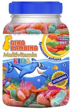 ДИНО БАМБИНО КИДС МУЛТИВИТАМИНИ ЗА ДЕЦА желирани акули * 60 - изображение