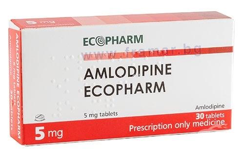 Изображение към продукта АМЛОДИПИН таблетки 5 мг * 30 ЕКОФАРМ