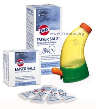 Изображение към продукта НАЗАЛЕН ДУШ EMSER КОМПЛЕКТ ЗА ДЕЦА С 20 опаковки ФИЗИОЛОГИЧНА СОЛ